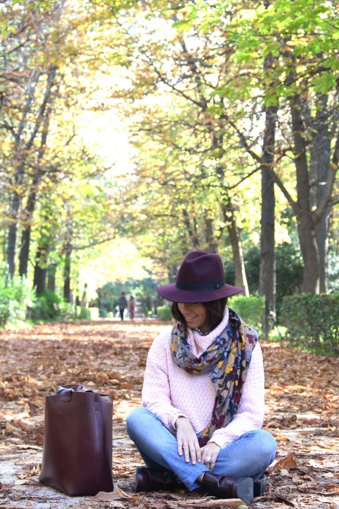 look otoño burgundy